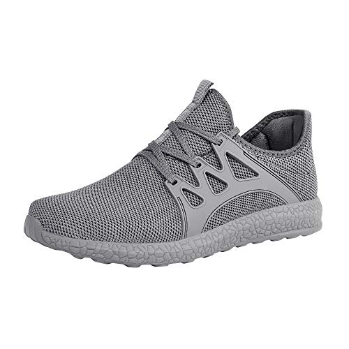 ZOCAVIA Men's Casual Sneakers Ultra Lightweight Breathable Mesh Sport Walking Running Shoes, Grey, 12.5 D(M) US