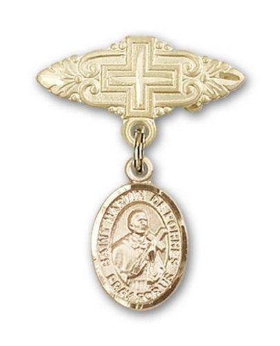 Icecarats Or Bijoux De Créateurs Rempli R. Martín De Porres Broche De Badge Charme Avec Une Croix X 3/4