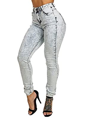 Stylish Womens Juniors Acid Wash High Waisted Skinny Denim Tight Jeans 10907B