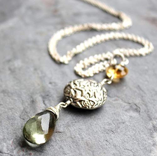 Pendant Gemstone Necklace Green Amethyst Prasiolite Citrine Sterling Silver Elegant Statement ()