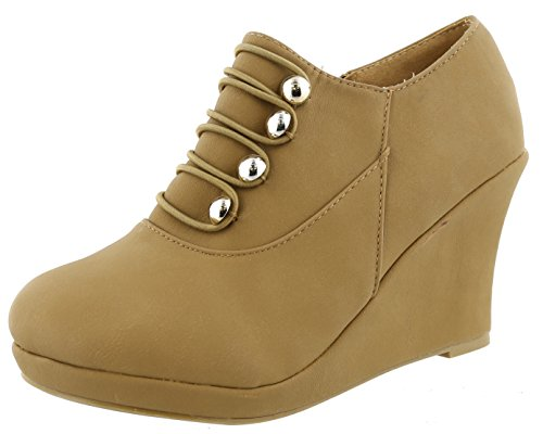 TOP Moda Women's Closed Round Toe Button Platform Wedge Ankle Bootie (8.5 B(M) US, Tan)