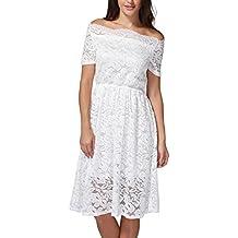 DongDong Hot Sale! Dress Vintage Off Shoulder Lace Women Formal Evening Party Dress Short Sleeve Dress