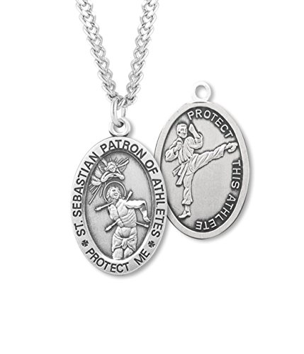 + BERTOF MARTIAL ARTS SAINT SEBASTIAN STERLING SILVER Patron Saint of Athletes Double Sided Sport Devotional Medal 24