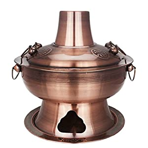 DD2 Chinese Traditional Old Beijing Charcoal Hot Pot (Diameter 34 CM, Red Copper)