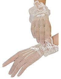 Aivtalk Womens Sexy Stretch Lace Bridal Wedding Gloves White