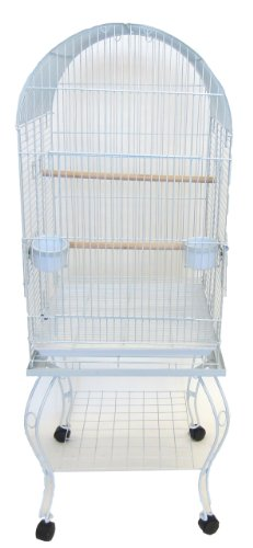 Dome Top Parrot Bird Cage with Stand, White