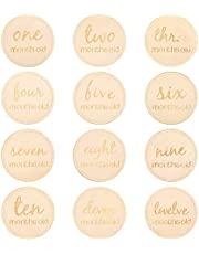 NUOBESTY Baby Monthly Milestone Cards 12pcs, 10x10x0.3cm Round Numbers Shower Gift Wooden Baby Birth Announcement Card Record Month Set Discs Photography Props - English Letter