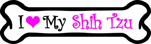 Imagine This 7-Inch by 2-1/4-Inch Car Magnet Pink Bones, I love My Shih Tzu (Bone Tzu Shih)