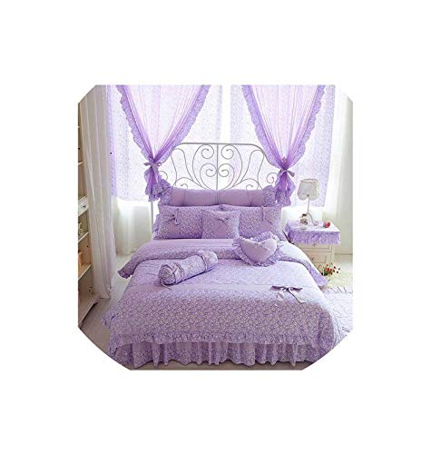 Pocket shop Cherry Printing 100 Cotton Bedding Sets Size Bow Design Quilt Cover Ruffles Bedspread Bed Linen Pillowcases 4/6/8Pcs,Purple Without Lace,King Size 6Pcs