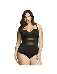 ALICE-X&S Women's One-piece Plus Size Swimsuit Mesh Splicing bathing suit