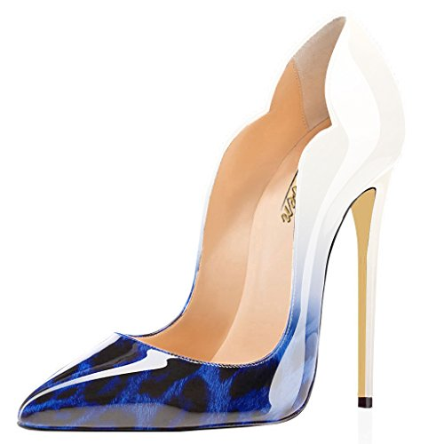 Heels Pumps Leopard Sexy Evening Point Blue Shoes Dress Women's Toe wedding High Stilettos Modemoven patent Leather cute nw8aUTaf