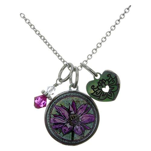 Spirit Lala Lotus Circular Reversible Pendant Necklace With Crystal and (Crystal Circular Charm)