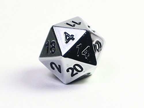 Solid Metal Chrome Silver D20 Polyhedral Dice Single Die - Heavy Dice