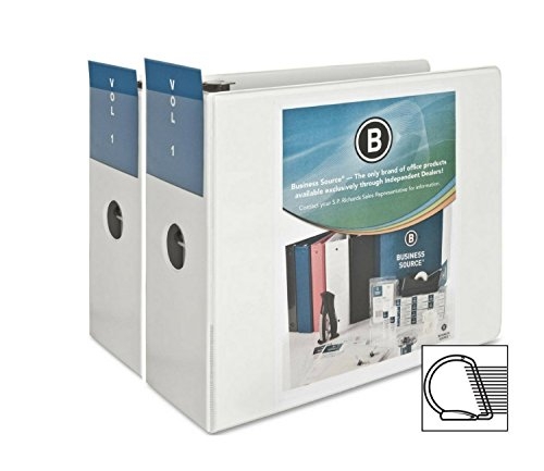 Business Source 2 Pack,Office Binder 5-Inch Slant D-Ring View Binder - White (BSN28445)