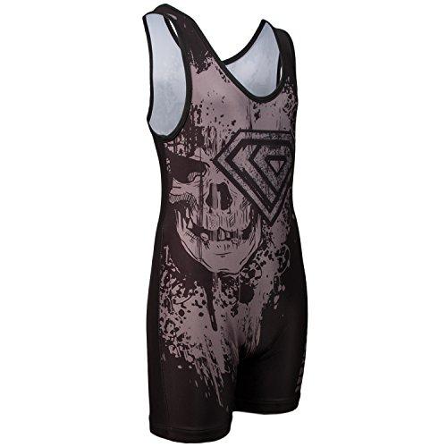Singlet Wrestling Custom (KO Sports Gear SILVER SKULL Wrestling Singlet)