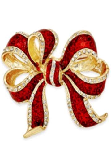 Macy's Charter Club Gold Tone Red Glitter Bow Pin Brooch (2