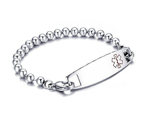 Free Personalized Engraving-Stainless Surgical Steel Medical Alert ID Tag Bead Link Bracelets 8.5 ()