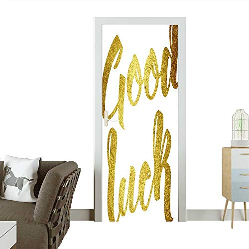 Door Sticker Party Good Luck Wish Note Hand Written Lettering Greeting Card Concept Gold Removable Door Decal for Home DecorW35.4 x H78.7 INCH