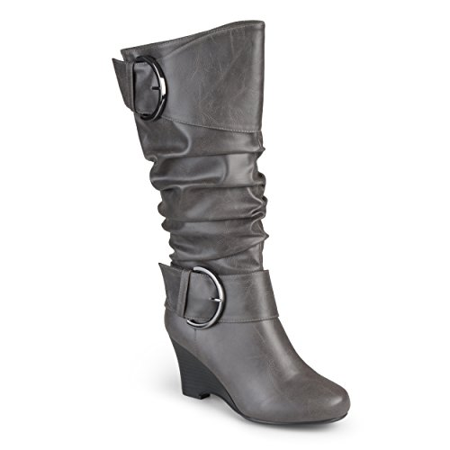 Brinley Co Womens Buckle Tall Faux Leather Boots Grey, 7.5 Extra Wide Calf US
