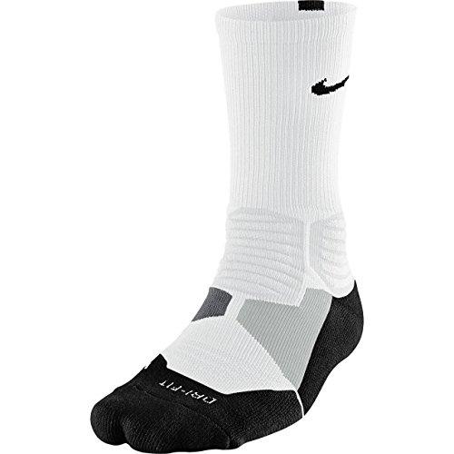 Nike Hyperelite Basketball Crew Dri-Fit Men Socks White/Black SX4801-101 (SIZE: XL)