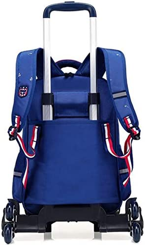 Color : Sapphire Blue Ly-lgb Childrens Three-Wheeled Trolley Bag Detachable Primary School boy 6-12 Years Old Girl Climbing Floor six Rounds
