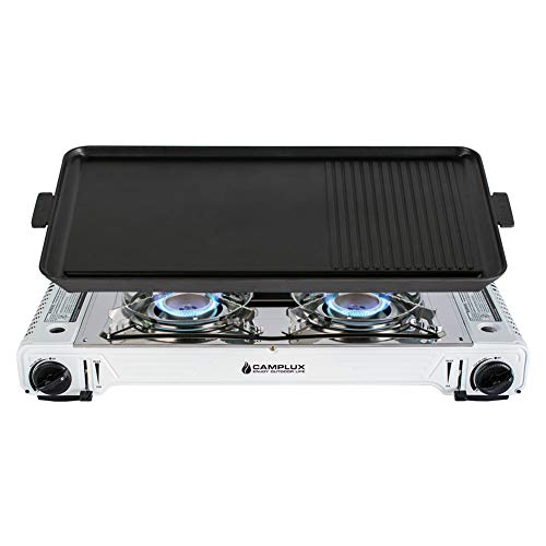 CAMPLUX ENJOY OUTDOOR LIFE Camplux Portable Camping Butane Gas Stove Twin Burner with Non Stick Grill and Carrying Case, (Stainless Steel & White) ()