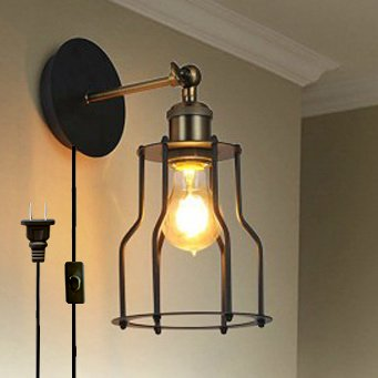 Kiven Iron Cage Lamp Shade Retro Industrial Edison Antique Style Wall E26 UL Certification Plug