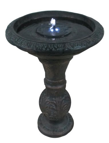 Round Bronze Solar Fountain Solar Birdbath with LED Lights ASF317A by Patriot