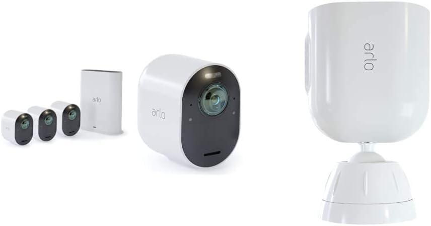 4 Caméras Ultra 4K Hdr Avec Station D'Acceuil et Support Aimanté Blanc...