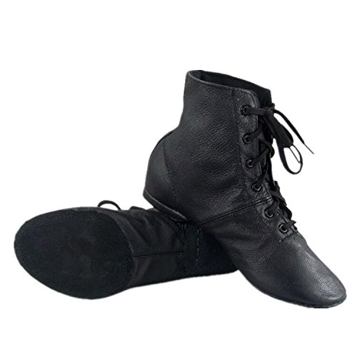 Cheapdancing Children's Practice Dancing Shoes Soft Leather Flat Lace-up Jazz Boots (Little Kid/Big Kid) (4.5 M Kid) Black