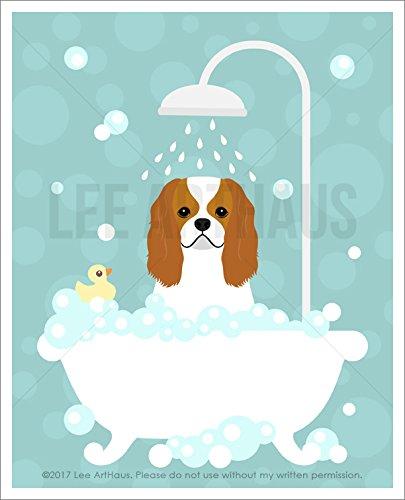 254d - Cavalier King Charles Spaniel Dog In Bubble Bath Bathtub Unframed Wall Art Print By Lee Arthaus Picture