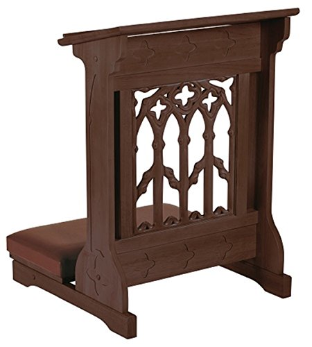 Maple Hardwood Padded Church Prayer Kneeler in Walnut Stain Finish, 24 Inch by Canterbury Collection