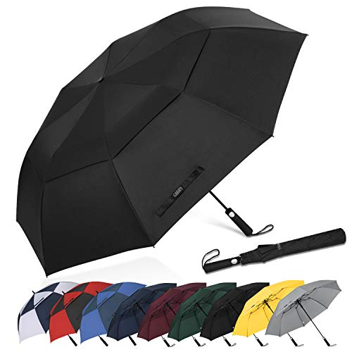 - G4Free 62 Inch Portable Golf Umbrella Large Oversize Double Canopy Vented Windproof Waterproof Automatic Open Stick Umbrellas for Men Women(Black)