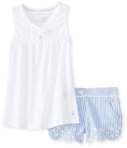 Nautica Little Girls' Eyelet Tunic With Embroidered Seersucker Short 2