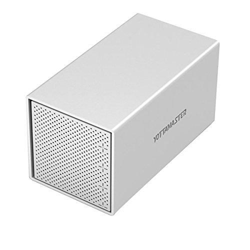 Yottamaster Aluminum Alloy 4 Bay 3.5 Inch USB3.0 External Hard Drive Enclosure SATA3.0 Support 4x10TB & UASP -Silver
