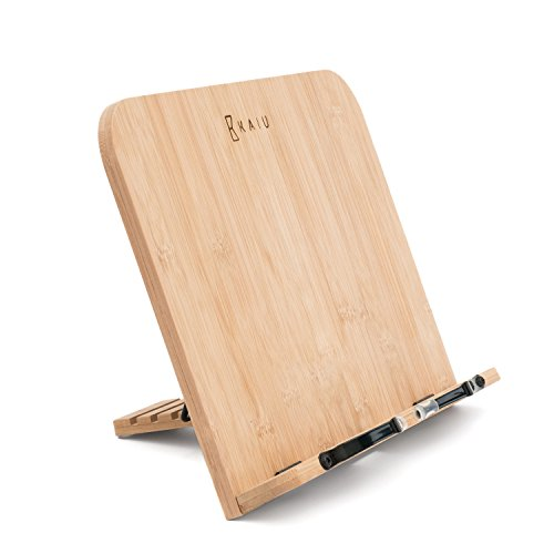KAIU Book Rest Bamboo, Sleek Design with Adjustable Angle Reading Rest, Great for Cook Book, Studies, Tablet, Ipad and More! by KAIU