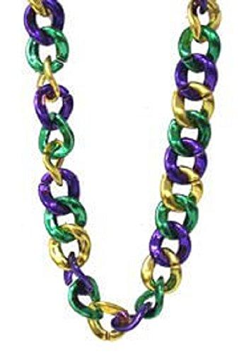 Mardi Gras, Purple/Green/Gold Jumbo Link Chain Necklace, 36