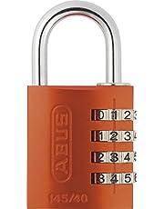ABUS Cijferslot 145/40 oranje - hangslot van massief aluminium - met individueel instelbare cijfercode - 48812 - niveau 4
