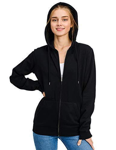 - esstive Women's Basic Oversized Fleece Full-Zip Hooded Jacket, Black, X-Small