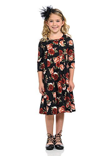 (Honey Vanilla Girls' A-Line Trapeze Dress X-Large 11-12 Years Floral Black)