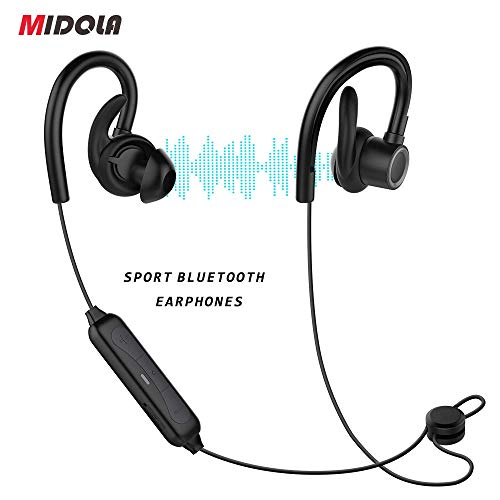 MIDOLA Sports Bluetooth Headphones, in-Ear Earbuds w Mic, Waterproof IPX7, Deep Bass HiFi Stereo Sound, 6 Hours Play Time, Noice Cancelling for Running, Jogging, Cycling, Exercising, Workout