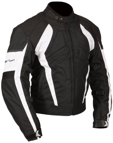 Milano Sport Gamma Motorcycle Jacket with White Accent (Black, Small) by Milano Sport (Image #2)