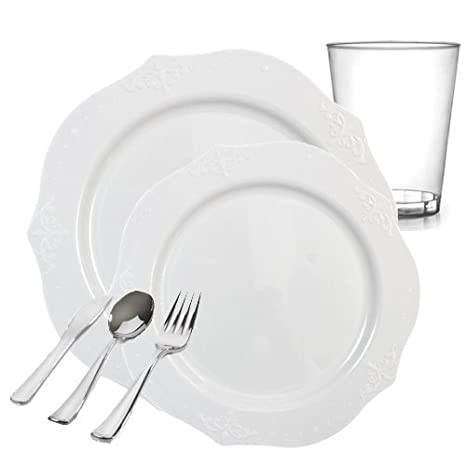 Posh Party Supplies | Antique White Embroidered Plastic Tableware Packagefor 20 Guests | Dinner u0026 Dessert  sc 1 st  Amazon.com & Amazon.com: Posh Party Supplies | Antique White Embroidered Plastic ...