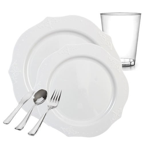 Posh Party Supplies | Antique White Embroidered Plastic Tableware Packagefor 20 Guests | Dinner & Dessert Plates, Plastic Tumblers & Plastic Silver Cutlery | 120 Piece Total Antique Silver Tableware