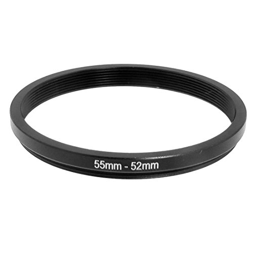 uxcell 55mm-52mm 55mm to 52mm Black Step Down Ring Adapter for Camera