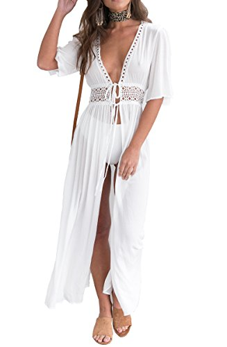 SVALIY Women Summer Open Front Long Beachwear Bathing Suits Bikini Cover ups, White, L