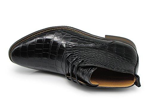 Stivali Da Uomo Enzo Romeo Df2 In Alligatore Stampa Coccodrillo Chelsea Chukka Stivali Allacciati In Chukka Moda Nero