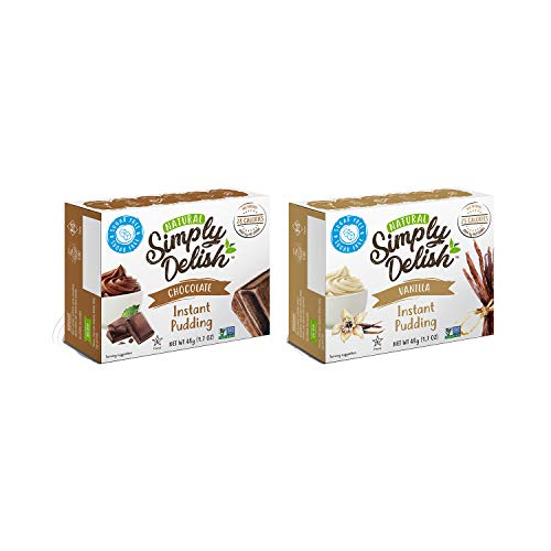 - Simply Delish Natural Instant Pudding Variety Pack, 1 Chocolate & 1 Vanilla - Sugar Free, Non GMO, Gluten Free, Fat Free, Lactose Free, 1.7 OZ (2 CT)