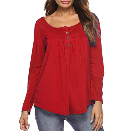 Blouse Tee Longues Row Rouge Femmes Shirt Plis Tops Yiiquanan Casual Bouton Manches Solides Tunique PvFx6wTBqn