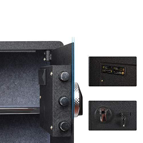 Fingerprint Security Safe Box Fireproof Waterproof Lock Box Cabinets Gun Pistol Cash Strongbox Solid Steel Safety Jewelry Storage Money Boxes w/Deadbolt Lock&2 Emergency Keys&4 Battery Wall-Anchoring by Reliancer (Image #5)